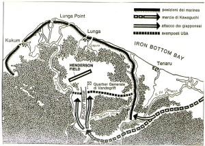 La battaglia di Edson's Ridge(12-14 settembre 1942). Fonte: Robert Leckie, Sfida per il Pacifico: la battaglia di Guadalcanal, Mursia, 1968