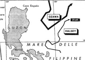 La terza Flotta di Halsey si dirige a nord per intercettare Ozawa. Lo stretto di San Bernardino resta praticamente indifeso.