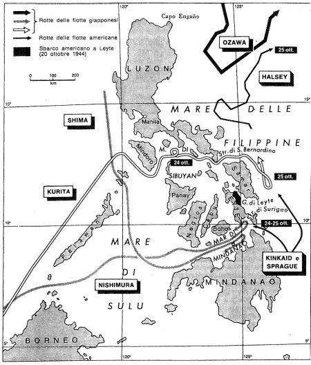 Leyte, 24-26 ottobre 1944: i movimenti delle flotte e le fasi della battaglia.