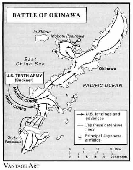 Mappa della battaglia di Okinawa. Fonte:japanfocus.org/-Aniya-Masaaki/2629