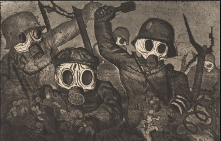 Otto Dix ( 1891-1969). Assalto con maschere antigas(1924)