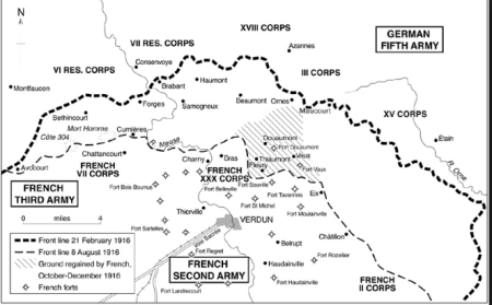 Verdun: il campo di battaglia. Fonte: www.westernfrontassociation.com. The battle of Verdun