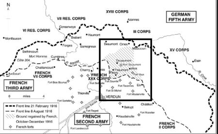 Verdun: la battaglia per i forti. Riva destra della Mosa. Fonte: www.westfontassociation.com, citato