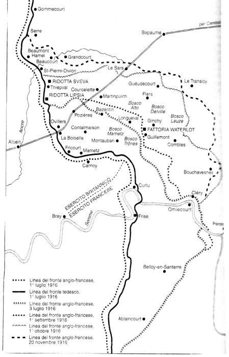 La Somme: i luoghi della Battaglia. Fonte: Martin Gilbert, La grande storia della Prima Guerra Mondiale, Bur, 2003. Clicca sulla cartina per ingrandirla.