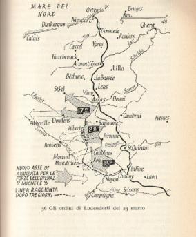 Il nuovo Piano Michael dopo gli ordini del 23 marzo. Fonte: Correlli Barnett, I generali delle sciabole, Longanesi 1963