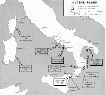 Il piano per l'invasione dell'Italia: le operazioni Avalanche, Baytown e Slapstick. Da www.nuke.montecassinotour.com